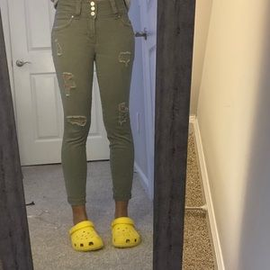 Ross olive green ripped cropped skinny jeans